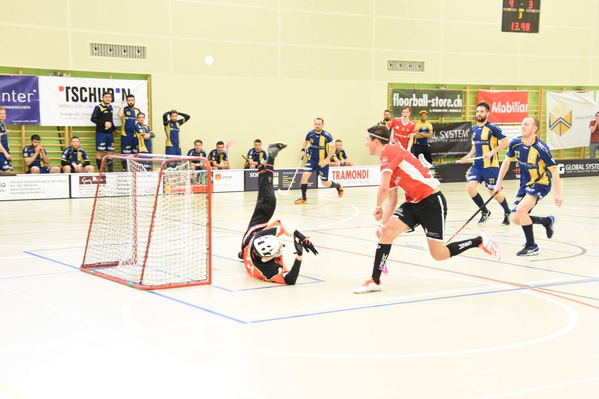 Floorball goalie David denied the goal of the striker